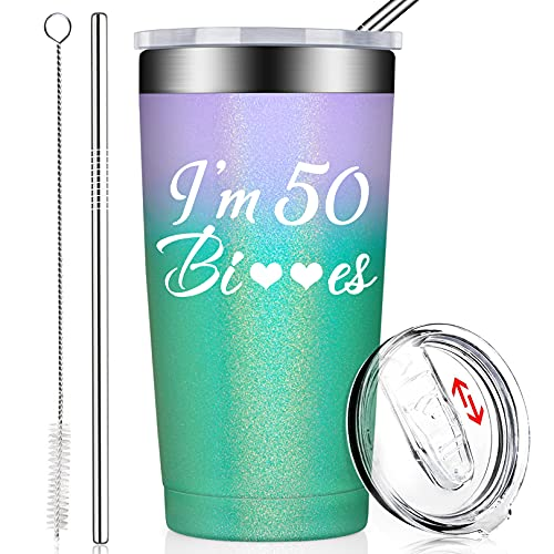 best gifts for co workers under 50 BIRGILT 50th Birthday Gifts for Women - I'm 50, Funny Best Turning Fifty Year Old Present Ideas for Mom Wife Sisters Her Friends Coworkers, Tumbler with Lid and Straw