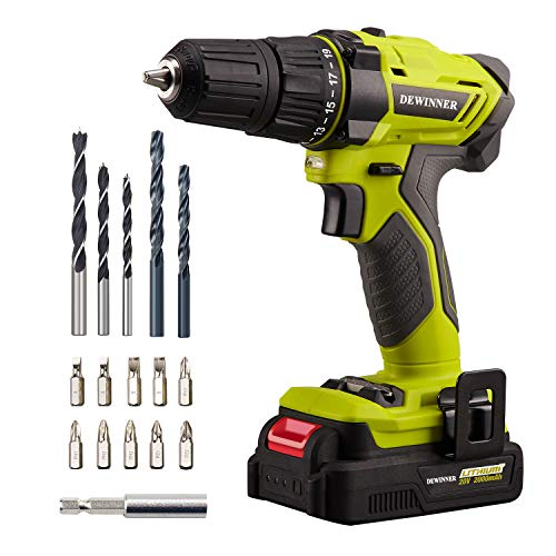 DEWINNER 20V MAX Lithium Ion Cordless Drill, Power Drill Set with 3/8 inches Keyless Chuck, Variable Speed, 19 Position and 17pcs Drill/Driver Bits