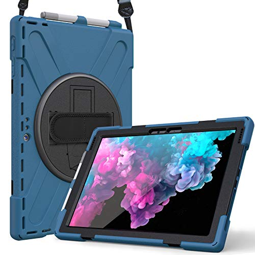 ProCase for Microsoft Surface Pro 7 / Pro 6 / Pro 2017 (5th Gen) / Pro 4 / Pro LTE Case with Hand Strap, Heavy-duty Shockproof Hybrid Rugged Case Cover, with 360 Degree Rotation Kickstand –Moroccoblue