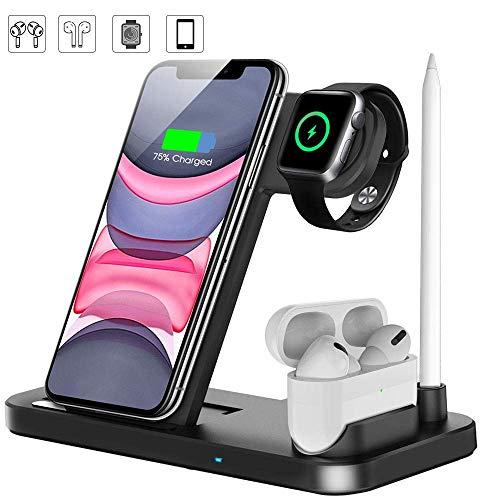 LECHLY Estación de Carga Inalámbrica, Base de Carga 4 en 1 para iWatch y Airpods, Cargador Inalámbrico Rápido Compatible con iPhone X/XS/XR/8/8 Plus, Samsung y Todos Los Teléfonos Qi (Negro)
