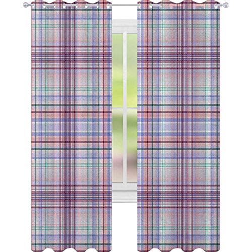 YUAZHOQI Checkered Room Darkening Window Curtains Thin Geometric Strips Retro Folkloric Irish Cultural Design Decorative Curtains for Living Room 52' x 108' Pale Pink Violet Blue Turquoise