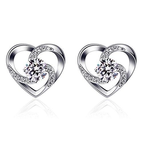 Orecchini, B.Catcher Orecchini in argento 925 Set di orecchini a forma di cuore con borchie'Crazy Love' in argento sterling 925