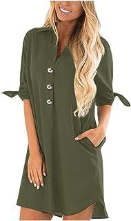 Women V Neck Long Sleeve Tops, Ladies Solid Button Pocket Casual Shirt Dress Mini Dress