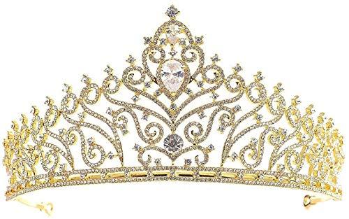 KEEBON para Las Mujeres, la Princesa Nupcial de la Princesa de la Boda Rhinestone de la Corona de Cristal para niños y la Diadema para Adultos, Color: Pulseras de Oro aretes Anillos Collares
