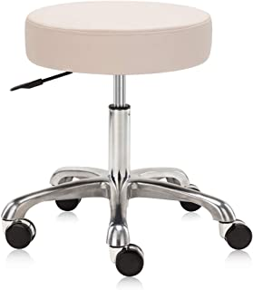 DR.LOMILOMI Extra-Wide Seat Rolling Swivel Clinic Medical Salon Stool Chair with Memory Foam 502 (Vanilla)