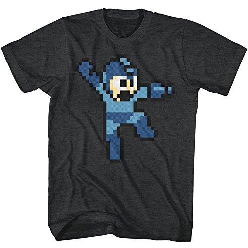 Mega Man Jumpman Video Game Pixel Robot Android Rockman Adult T-Shirt Black Heather