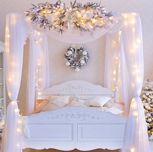 Baocicco 3 x 3 m Hochzeit Zimmer Dekorationen Kulisse Weihnachten Dekorationen Lichterkette Vorhänge Bett Fotografie Hintergrund Hochzeit Geburtstag Kinder Erwachsene Portrait Studio Requisiten