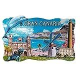 Imán de nevera 3D de Gran Canaria Island España, regalo de recuerdo de viaje, decoración para el hogar y la cocina