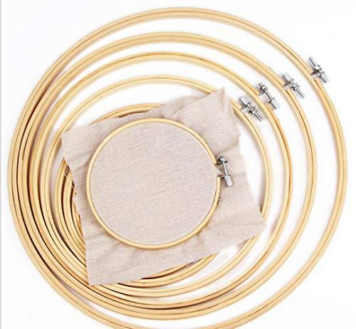10 – 40 cm 10 piezas por juego de aros de madera de bambú para bordar aros de aro para bricolaje de punto de cruz, herramientas de manualidades