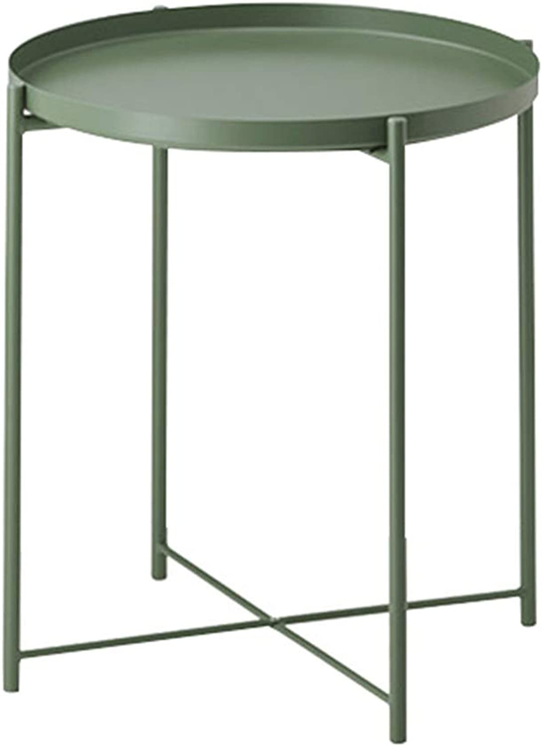 JCOCO Nordic Wrought Iron Small Coffee Table, Round Balcony Table Modern Minimalist Fashion Personality Small Coffee Table (color   Green)