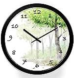 JJDSN Reloj de Pared Redondo, Reloj de Pared Decorativo idílico Reloj de Pared Digital Negro de Dibujos Animados Reloj de patrón de árbol Tienda de Juguetes Reloj de Pared Uso Familiar