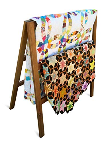 Purchase Premium Quilt Rack – 3-Tier Quilt Ladder Holds 5 Blankets or Afghans for Vender Displays – Great for Pillows, Shams and a Comforter- Folds Flat for Storage, Non-Toxic Finish. Handcrafted in the USA!