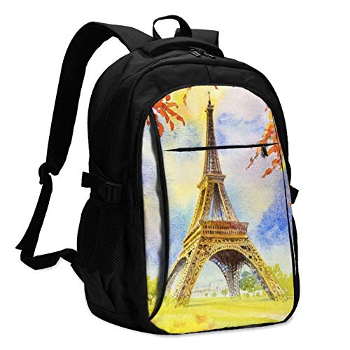 Eiffel Tower in Paris Unisex Travel Laptop Backpack with USB Charging Port School Anti-Theft Bag