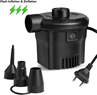 Deeplee Bomba de Aire Eléctrica, Inflador Eléctrico 130W de Alta Potencia para Colchón Hinchable, Colchoneta Inflable, Piscina, Juguete Inflado, 3 Boquillas Incluidas