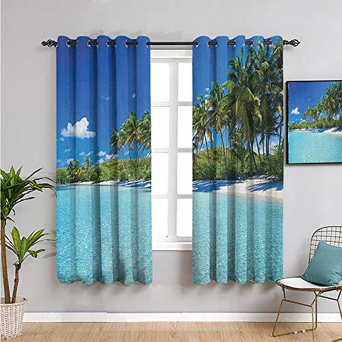 Xlcsomf Ocean Black Out Cortinas para dormitorio, cortinas de 160 cm de largo, relajantes balneario, palmeras y mar exótica costa caribeña de café, cortina turquesa azul verde 132 x 163 cm