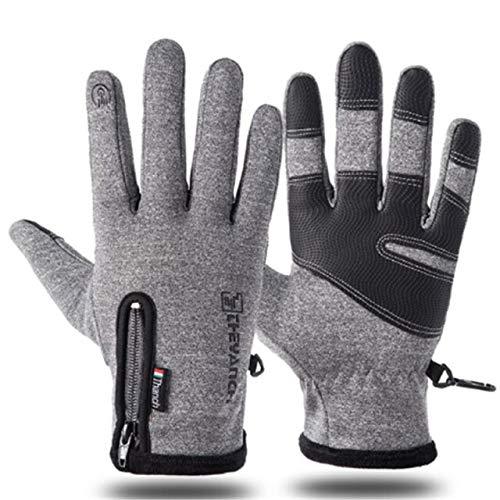 Herbst und Winter Reißverschluss Outdoor Sport Reithandschuhe warme Winddichte wasserdichte Handschuhe Touchscreen Handschuhe Männer und Frauen Handschuhe-Gray-2-L