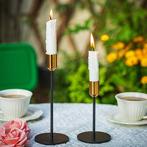 Wuudi Kerzenständer 2er Set, Stabkerzenhalter aus Metall, Deko Kerzenleuchter, Vintage Kerzenständer, Tischdeko für Hochzeit Weihnachten Geburtstag, Gold/schwarz …