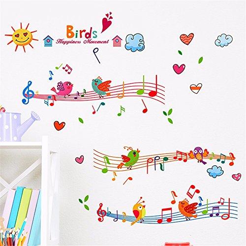Bomeautify Pegatinas de pared Etiqueta la Pegatinas de papel Notas musicales Stave Habitación para niños Kindergarten Aula Decoraciones de pared Creative, 30 * 40CM