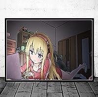 アニメガブリエルドロップアウトウォールアートキャンバスプリント絵画ノルディックスタイルのポスター壁アートモジュール式絵のための住宅装飾 映画 50x50cmフレームなし