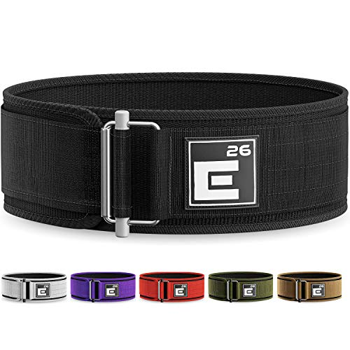 Element 26 Self-Locking Weight Lifting Belt - Premium Weightlifting Belt for Serious Crossfit, Power Lifting, and Olympic Lifting Athletes (Large, Black)