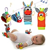 TiKiNi Baby Rasseln Spielzeug, Socken und Handgelenk Fuß und Handgelenk Rassel Finder Plüschtier Developmental Soft ToysGame Socken Nettes Tier Soft Baby Handgelenk