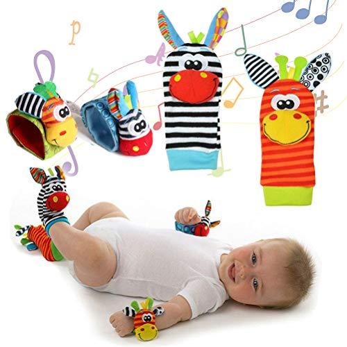 FreshWater Juguete de sonajeros para niños, calcetines y muñeca con campana, juguete de peluche buscador de sonajero, calcetines de juego lindo animal suave muñeca para niños