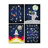 KAIRNE 4er Set Kinderzimmer Bilder | Weltraum Astronaut