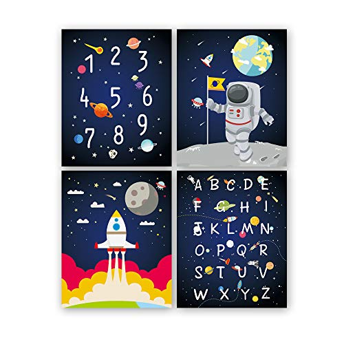 KAIRNE 4er Set Kinderzimmer Bilder | Weltraum Astronaut Rakete Planeten Deko Junge Poster Babyzimmer | Kinder Wandbilder | Wand Kunst Dekoration für Schlafzimmer kinderposter Babybilder
