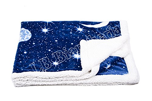 Lovely Home - Coperta 2 piazze matrimoniale Plaid agnellato cm 210X240 'Planet' Moon Luna e Stelle