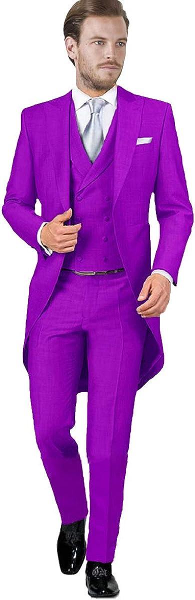 Sxfashbrd Mens Long Tailcoat Tuxedos Blazer 3 Piece Suits Slim Fit Jacket Vest Pants Long Tail Formal Jackets Outerwear Coats