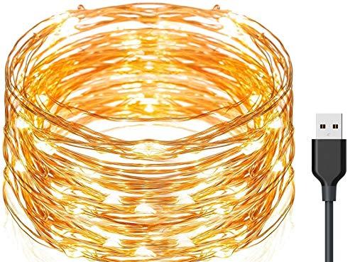 Exporee 20m Luces LED de Cadena 200 Leds USB Powered, Luces de Alambre de Cobre de Hadas Impermeables para Valla Patio Jardín Árbol Fiesta de Navidad Boda, Blanco cálido
