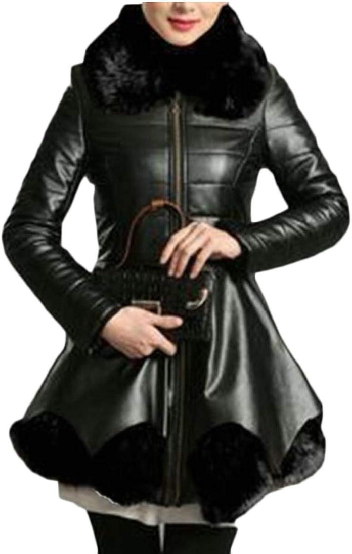 Desolateness Women Winter Zip Leather Jacket Long Sleeve Parka Faux Fur Overcoat