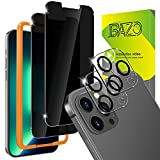 BAZO [2+2 Pack] Privacy Screen Protector Compatible for iPhone 13 Pro Max (6.7 inch) and Camera Lens Protector - Tempered Glass Anti Spy Film[Shatter Proof] [Case Friendly] [9H Hardness ]