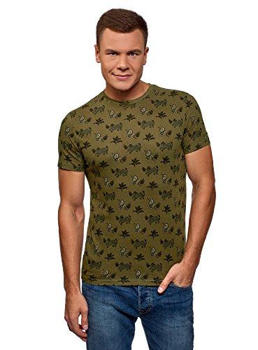 oodji Ultra Hombre Camiseta de Algodón con Estampado Étnico, Verde, ES 46-48 / S