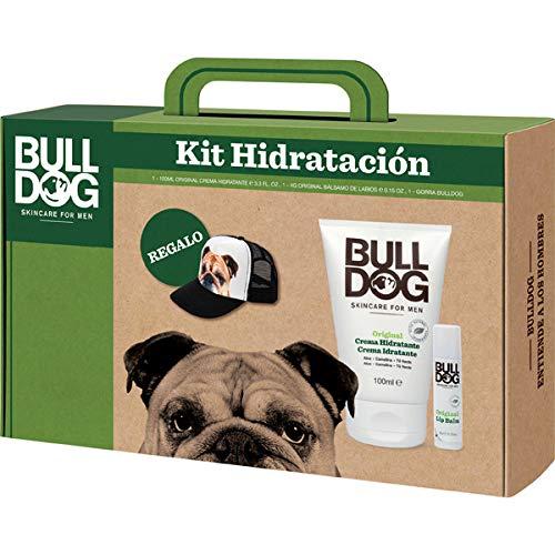 Bulldog Cuidado Facial para Hombres - Kit Hidratación de Cara y Labios, Incluye Crema Hidratante Original 100 ml + Bálsamo Labial 4 g + Gorra de Regalo