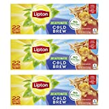 Lipton Cold Brew Family Black Iced Tea Unsweetened Decaffeinated Tea Bags 22 Ct, Pack of 3