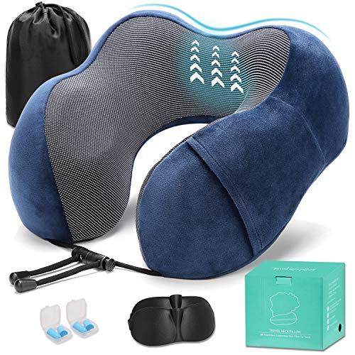 Suweir Reise Nackenkissen, Memory Foam Nackenhörnchen, bequemer & atmungsaktiver Bezug, U Geformte Reisekissen für Flugzeug Car & Home Travel Kit (Navy blau)