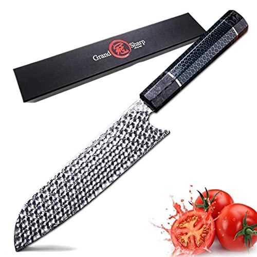 Cuchillo de chef a mano 110 capas Damasco de acero japonés Santoku Cuchillos de cocina Art Honeycomb Manand Herramientas de cocina profesional (Color : A)