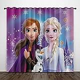 Bfrdollf Frozen ELSA - Cortina opaca de tela impermeable para habitación infantil, con ojales superiores para cortinas, impresión digital 3D, 100% poliéster (12,100 × 140 × 140 × 140 × 140 × Frozen