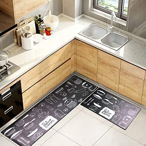 Kitchen Mat Set,GABWE 2 Piece Non-Slip Waterproof Kitchen Rugs Bath Mat Doormat Oil Proof Area Rug Anti Fatigue Kitchen Floor Mat 18'x29'+18'x47'
