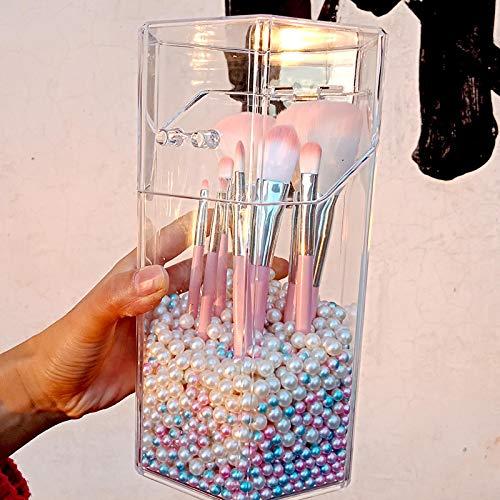Soporte para brochas de maquillaje Organizador de acrílico transparente con cubierta a prueba de polvo, caja de almacenamiento de brochas para cosméticos y perlas