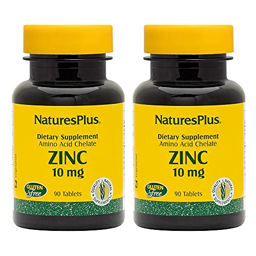 NaturesPlus Zinc 10 mg - 90 Tablets, Pack of 2 - Supports Immune Health & Overall Well-Being - High-Potency Amino Acid Chelate Form - Gluten Free, Vegetarian - 180 Total Servings