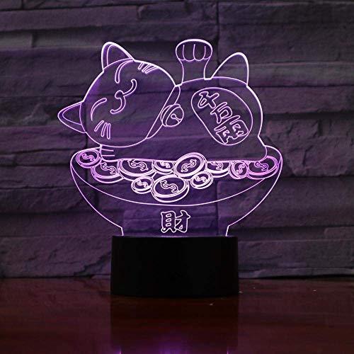 3D ilusión luz LED noche Plutus Cat óptico multicolor lámpara de escritorio con control remoto regalo de cumpleaños para niños