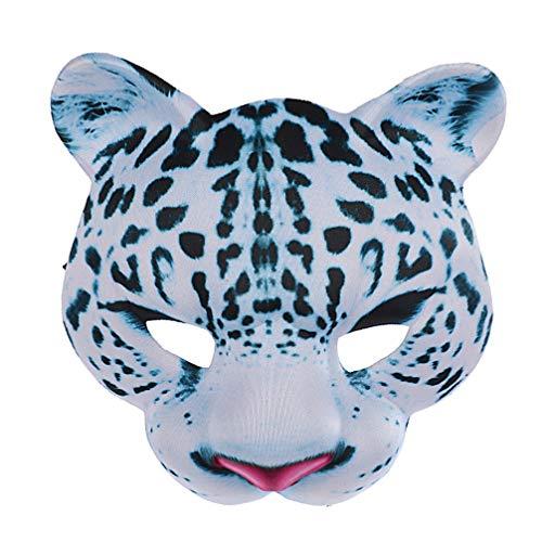 Amosfun Halloween Schneeleopard Maske Tier Gesichtsmaske Kostüm-Partei Cosplay Maske