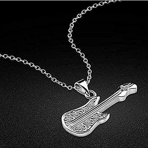 LKLFC Collar Collar Plata Estilo Lindo Colgante de Guitarra Diseño Collar de Cadena de clavícula de Plata Maciza para Mujeres Hombres Regalos Collar Colgante Regalo para Mujeres Hombres Niñas Niños
