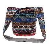 SM SunniMix Thai Hobo Bohemian Sling Crossbody Sac à Bandoulière Hippie Gypsy Zip sur Le Sac Supérieur - Multicolore, 35 x 18 x 32 cm