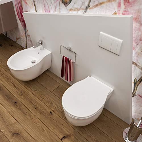 Sanitari bagno Bidet e Vaso WC SOSPESI Impression filomuro con coprivaso sedile softclose