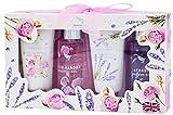 Coffret de bain pour Femme - Rose de Bulgarie/Lavande de France - Infusé aux huiles essentielles - 2 gel de douche 100ml - 2 lait corps 60ml