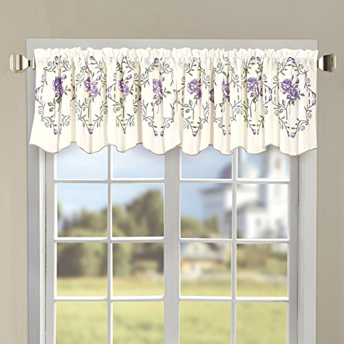 """Serenta Classic Embroidery Valance, 60""""x19"""" (Lilac Roses)"""