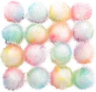 BESPORTBLE 16 peças de bolas de pompom de pele sintética para artesanato faça você mesmo, chaveiro com pompom e berloque a...
